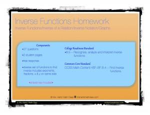 inverse function homework