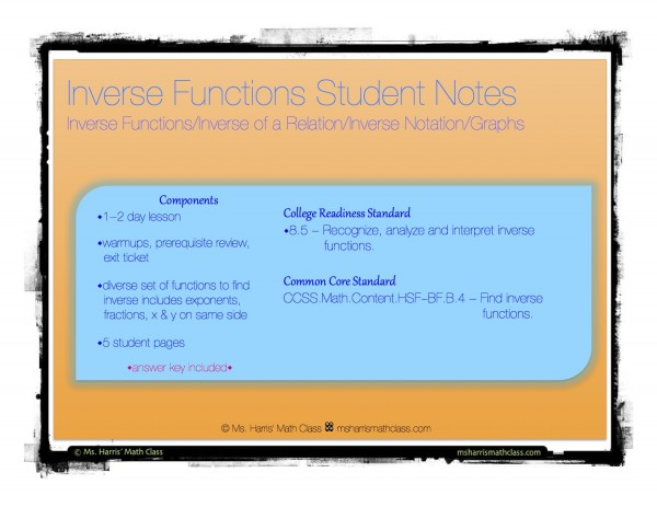 inverse function notes cover