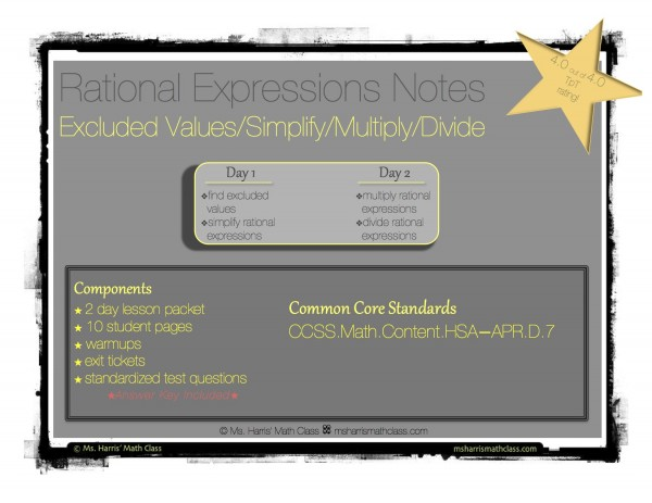 rational expressions notes packet