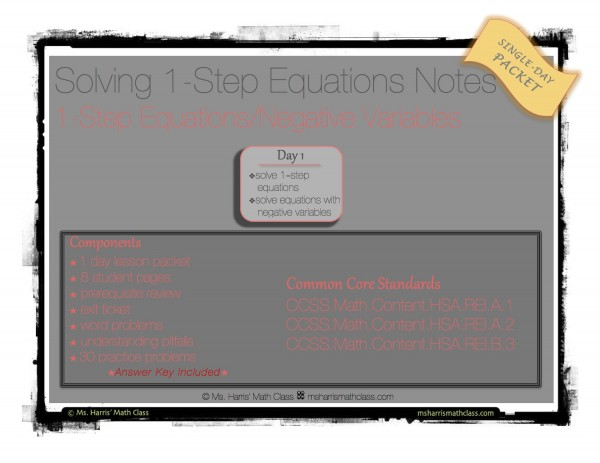 solve 1-step equations notes