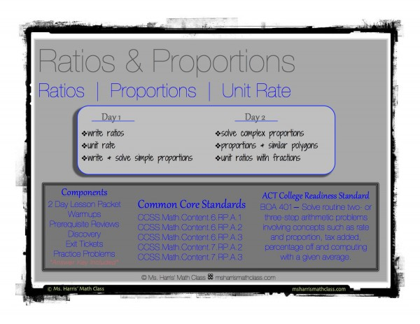 ratios proportions notes