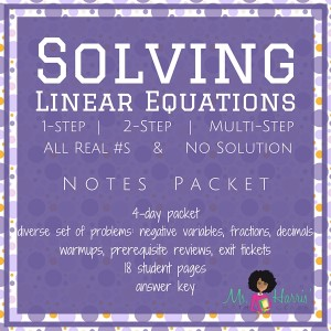 Solving Linear Equations | Notes Packet