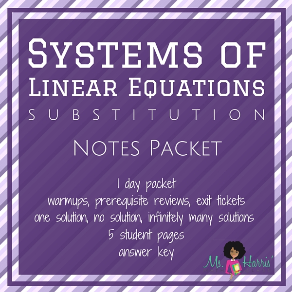 Systems of Linear Equations: Substitution | Notes Packet