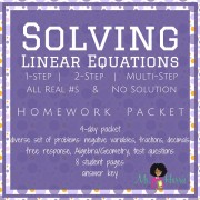 Solving Linear Equations | Homework Packet