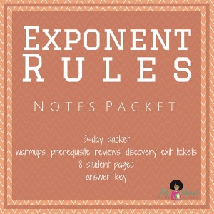 Exponent Rules | Notes Packet