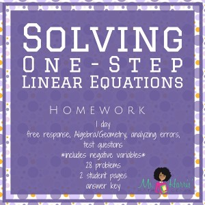 Solving Equations: One-Step | Homework