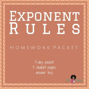 Exponent Rules | Homework Packet