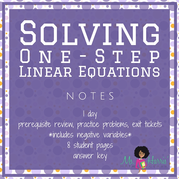 Solving Equations: One-Step | Notes