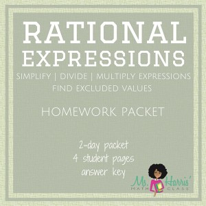 Rational Expressions Homework Packet Worksheet